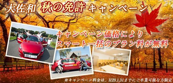 大佐和 秋の免許キャンペーン
