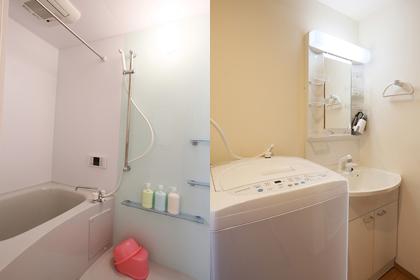 バスルームや洗面スペース(洗濯機付き)