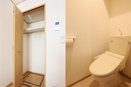 大型クローゼットとウォッシュレット付きのトイレ